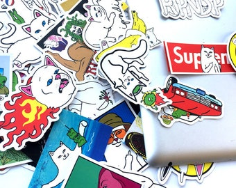 RIPNDIP Stickers Pack (x50) - Vinyl Decal Stickers for Skateboard Bike Snowboard