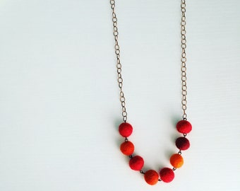 Paulina Felt Necklace in Habanero, Red Statement Necklace, Felt Ball Necklace, Beaded Necklace, Unique Jewelry, Gift for Her, Gift Under 50