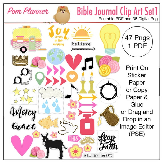 printable bible journaling clip art stickers diy faith rh etsy com Bible Journaling Templates Bible Journaling Templates