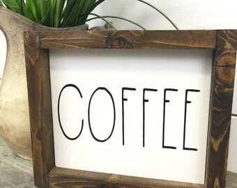 Rustic Farmhouse Coffee Sign - Rustic Wood Sign - Rustic Home Decor - Farmhouse Sign - Cottage Sign - White Sign - Rustic Wood Wall Hanging