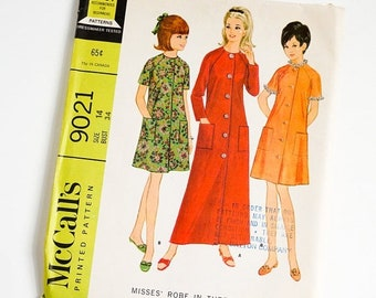 Shop SALE HTF Vintage 1960s Womens Size 14 Robe in Three Versions McCalls Sewing Pattern 9021 UNCUT / b34 w26