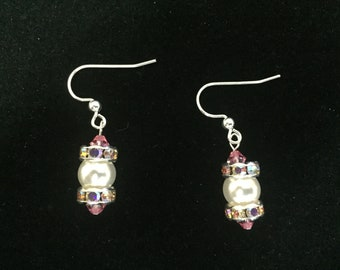 White Pearl and Dusty Rose Earrings