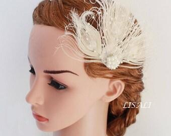LISALI  Ivory black Fascinator, Wedding Feather Fascinator, Bridal Feather Headpiece, Feather Fascinator, Wedding Feather Hairpiece