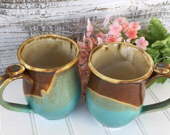 Mug Set of Two - Southwest Style Coffee Mug Set - Tea Mug Set - Stoneware Mugs - Pottery Mugs - Handcrafted Kitchen Mugs - Ready to Ship
