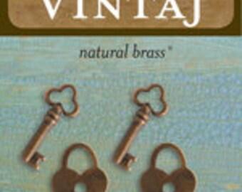 Vintaj Hearts and Keys (4 pcs/pkg)