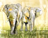 Watercolor Painting, Elep...
