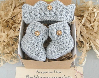 Baby Boy Reveal, Crown and Booties in a Box® Set, Grandparent Reveal, Princess Reveal, Baby Girl Gift, Gender Reveal, Ready to Ship