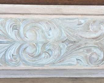 Vintage 1980's  Mahogany Carved Wood Door Panel, Re Purposed And Embellished By Hand Painting