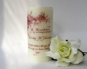 Rose Memorial Candle, Sympathy Candle, Remembrance Gifts, Wedding Memorial Table, Sympathy Gift Mother, Personalized Candles, Memory Candle