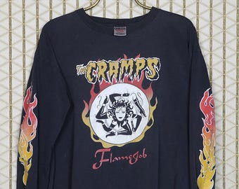 The Cramps shirt, vintage rare T-shirt, faded black tee, long sleeve, Lux Interior, Poison Ivy Rorschach