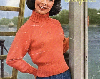Vintage womens polo neck sweater knitting pattern pdf ladies roll neck jumper Vintage 50s 32-38 inch DK light worsted 8ply Instant Download