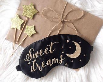 Sweet dreams sleep mask Satin Sleep mask for women Embroidery Sleeping mask Eye Mask Travel Mask