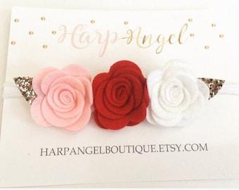 Red, Pink & White Felt Bow Flower Crown Nylon One Size Headband or Hair Clip Newborn / Baby / Toddler / Girls Valentine Headband