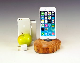 Charging station for ANY iPhone. Includes wall charger. 727. Reclaimed log slice. Live edge. FAST shipping.