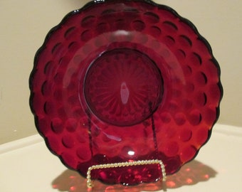 """Bubble Anchor Hocking Vegetable Bowl 8 1/4"""" Ruby Red Serving Cira 1934-1965 #A1"""