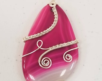 Pink Fuschia Agate Pendant Sterling Silver Plated Wire Weaving