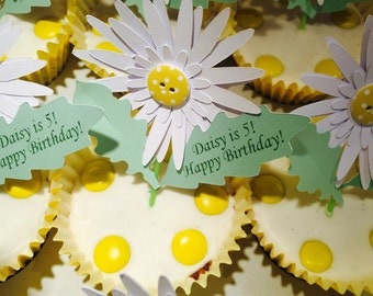 Personalised Daisy Cupcake Topper