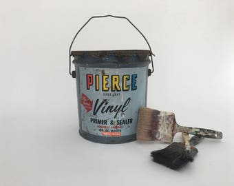 Paint Can - Vintage Pierce Metal Paint Can - Two Gallon Can - Paper Label - Display - Prop - Artist - Storage Tin - Bucket