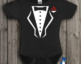 Baby Tuxedo, Debonair Tuxedo, Cute baby clothing, Black and White, baby bodysuit, by BlueFoxApparel *076