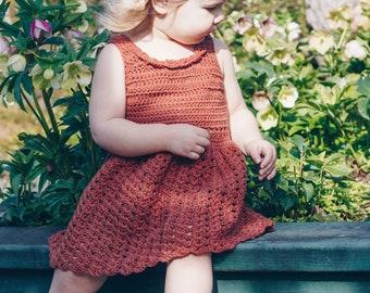 The Primrose Dress in Rudder, Crochet Dress, Baby Girl Dress, Little Girl Tank Dress, Summer Dress, Sun Dress, Dress With Collar
