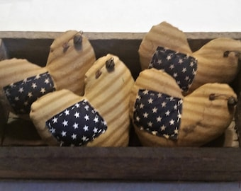 Primitive Patriotic  Americana Independence Day 4th Of July Heart Ornaments Bowl Fillers