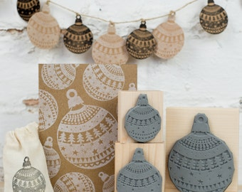 Christmas Pattern Bauble Rubber Stamp  - as seen in the Zoella Christmas Wrapping Video - Christmas Craft - Wrap - Decoration Stamper - Xmas