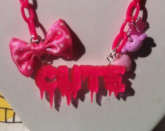Hot Pink Cute Necklace