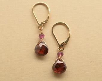 Garnet Earrings, Rhodolite Garnet Earrings, Healing Gemstone Jewelry, Garnet Gold Leverback Earrings, January Birthstone Earrings