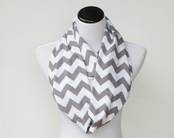 Gray chevron infinity scarf soft jersey knit loop scarf, grey white cotton circle scarf gift for her, gift for mom and girl