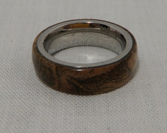 Satinwood Burl Wood Ring with Stainless Steel Core   Size 5  Stabilized