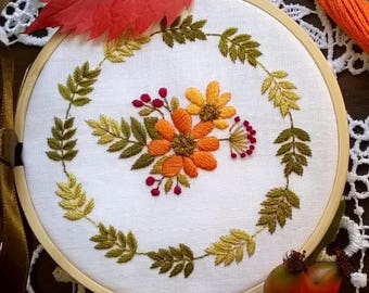 """Embroidery KIT - Embroidery pattern - embroidery hoop art - """" Autumn morning"""" - hand embroidery kit"""