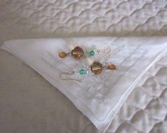 Vintage Inspired Amber, Clear Borealis Bead Pierced Earrings