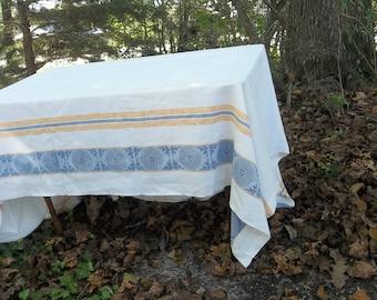 Vintage Damask Tablecloth 58 x 78 Mid Century Table Cloth Retro Kitchen Decot RV Decor