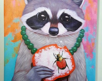 Raccoon, Beetle, and Beignet Animal Art Canvas Print