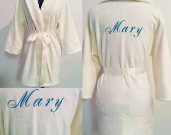 Fluffy Monogrammed Robes, Monogrammed Robes,  Bridesmaid Robes, Valentine's Day Gift Ideas, Personalized Robes, Ivory Fleece Bathrobe
