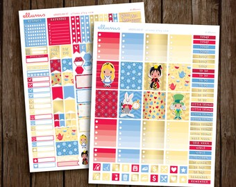 Wonderland Weekly Kit   PRINTABLE pdf jpg   Disney™ Alice in Wonderland Inspired Planner Stickers   fits Erin Condren or Recollections
