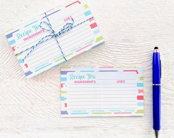 Essential Oil Recipe Cards - Essential Oil Accessories - Blank Essential Oil Information Cards