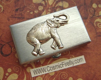 Small Pill Box Silver Elephant Tiny Silver Tone Metal Pill Case Gothic Victorian Steampunk Style