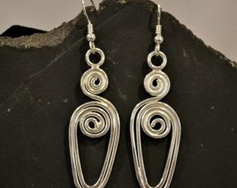925 sterling Silver wire earrings.  Swirly Whirly earrings.