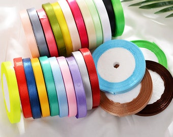 22m x 1cm Rolls Mixed Colors Satin Ribbons 1cm Packing Decoration DIY Gifts Party Craft Scrapbooking