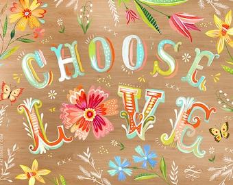 Choose Love Woodgrain - various sizes - STRETCHED CANVAS - Katie Daisy art