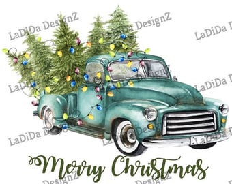 Vintage Blue Christmas Tree Truck Lights Sublimation Transfers  Snow Merry Christmas