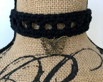 Choker Necklace, Crochet Choker, Black Cotton Choker, Black Hippie Necklace, Butterfly Pendant, Cotton Yarn, Butterfly Charm, Vintage Look