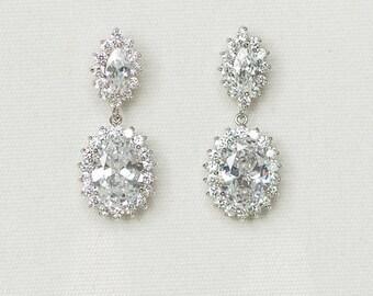 CZ Wedding Earrings, Bridal Earrings,  Crystal Wedding Earrings, CZ Drop Earrings