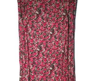 Vintage 90s Dress floral VINTAGE 90s Dress Sleeveless Floral grunge dress Red white Dress Small S