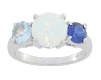 Opal Blue Sapphire & Aquamarine Round Ring .925 Sterling Silver