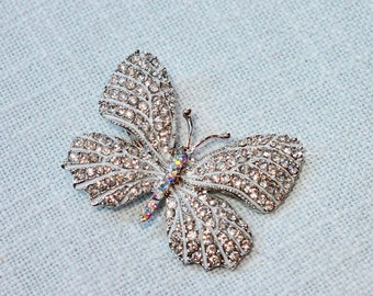 Beautiful Handmade Clear & Aurora Borealis Crystal Rhinestone and White Enamel Butterfly Hair Clip, Wedding, Bridal (Sparkle-2770)
