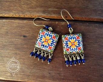 Portuguese Jewelry, Portuguese tile Earrings, large Statement Earrings, Dangle drop earrings, Colorful Jewelry, Mediterranean Earrings