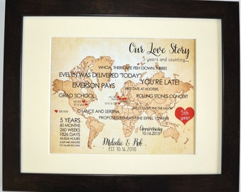 Custom 1st First Wedding Anniversary Gift For Husband Wife Him Her Couples Who Travel Map Heart Love Unique Wall Art Gift Ideas Art Prints