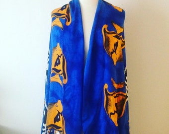 "Blue and Orange Colourblock Rayon Scarf Wrap Shawl 60"" x 45"" Plus 4"" Fringe Fish Design Rectangle"